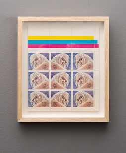Walter Battiss | Self Portrait on Stamps | n.d. | Screenprint on Perforated Paper | 25 x 21.5 cm