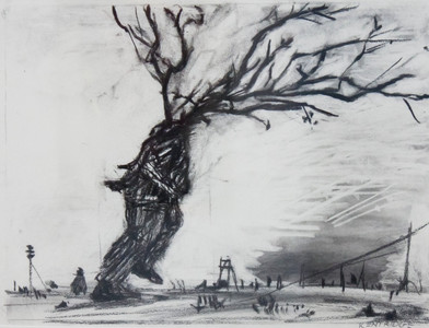 William Kentridge   (From The Walking Man Series)   2000   Charcoal on Paper   26 x 36 cm