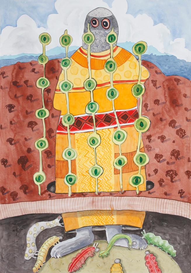 Colbert Mashile   Reverence   2012   Watercolour on Paper   100 x 70 cm