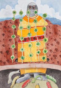 Colbert Mashile | Reverence | 2012 | Watercolour on Paper | 100 x 70 cm