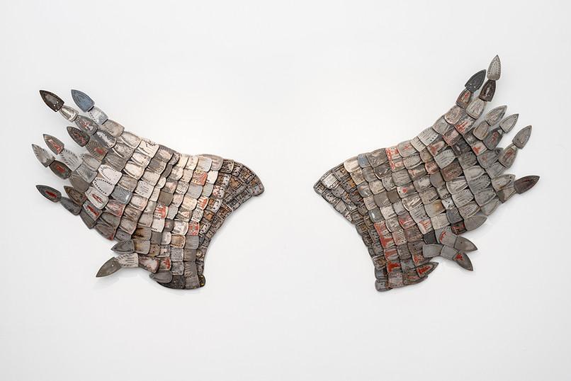 Usha Seejarim   Celestial Routines   2021   Reclaimed Ironing Bases, Transparent Paint   185 x 145 x 20 cm