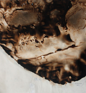 Sandile Zulu | Shard of Archetype Form 6 | 2012 | Fire, Water, Air and Earth on Canvas | 60 x 55 cm