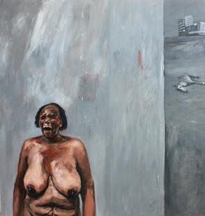 Johann Louw | Groot Vrou met Dooie Perd | 2012 | Oil on Plywood | 245 x 120 cm