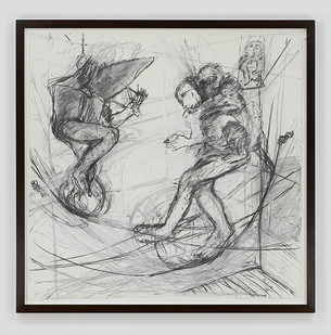 Albert Adams | Men and Apes on Tightrope | 2006 | Charcoal on Paper | 152 x 154 cm