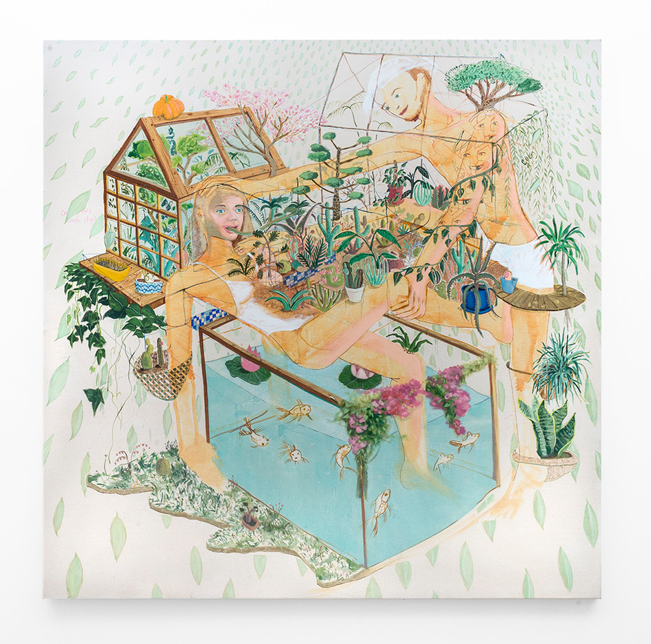 Marlene Steyn   Aquaponic Couple Style   2018   Oil on Canvas   200 x 200 cm