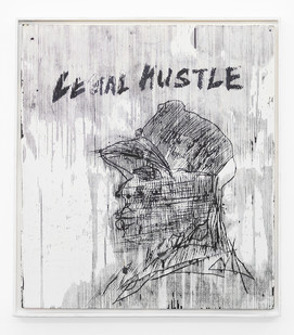 Gareth Nyandoro | Legal hustle II | 2019 | Ink on Paper Mounted on Canvas Mounted on Wood | 61 x 54 cm