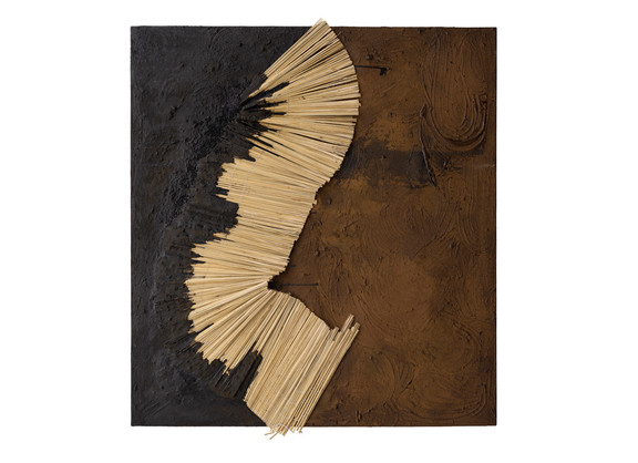 Simphiwe Buthelezi | To find solid ground | 2020 | Straw Mats, Glass Beads and Earth on Canvas | 150 x 138 cm