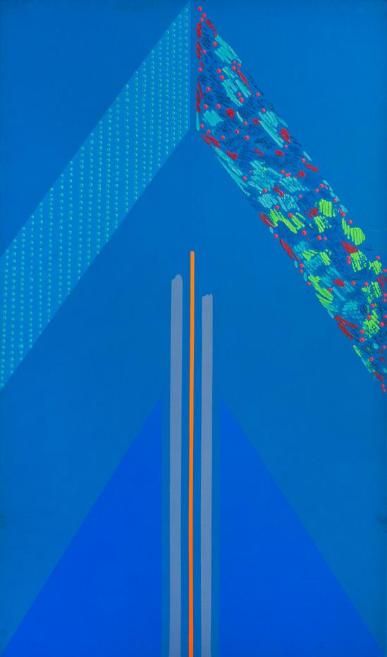 Kevin Atkinson | Blue Triangle | 1966 | Acrylic on Canvas | 150 x 92 cm