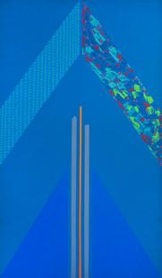 Kevin Atkinson   Blue Triangle   1966   Acrylic on Canvas   150 x 92 cm