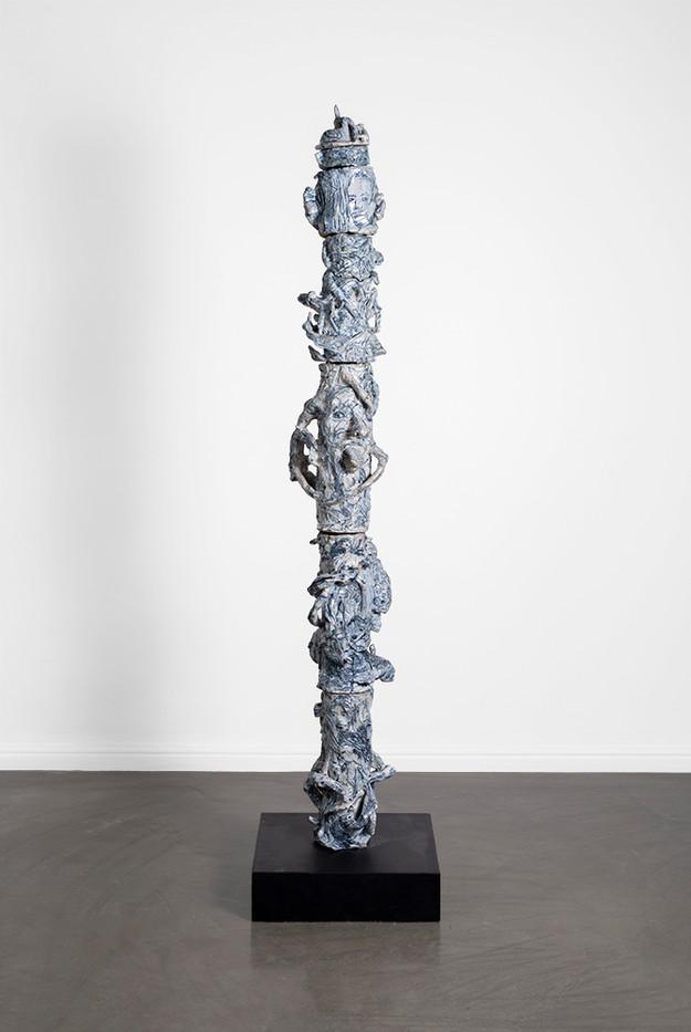 Marlene Steyn, Abraham Kritzman & Angels Miralda Tena   Vertigo where to go (Leo)   2018   Painted Ceramic   170 x 22 x 20 cm