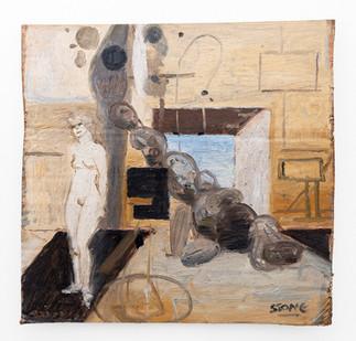 Simon Stone | Temple Nune | 2019 | Oil on Cardboard | 27 x 28 cm