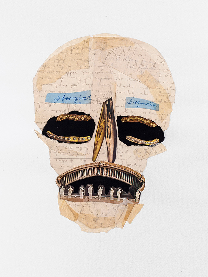 Kate Gottgens | Vanitas III (Skull with a pious smile) | 2020 | Collage on Paper | 76 x 56 cm