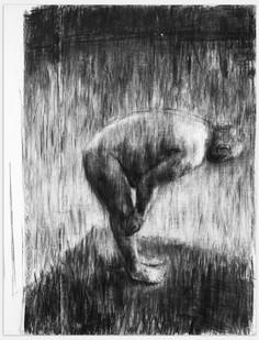 Johann Louw | Hande op Knieë | 2014 | Charcoal on Paper | 216 x 125 cm