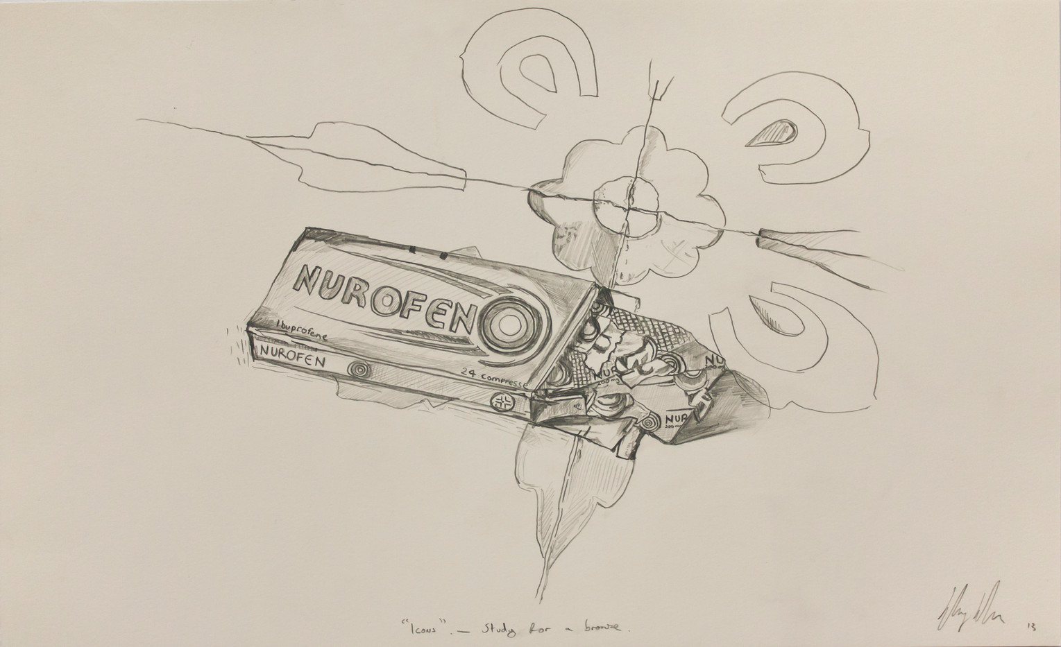 Henry Hudson | Icons- Study for a Bronze | 2014 | Pencil on Paper | 31 x 50.5 cm