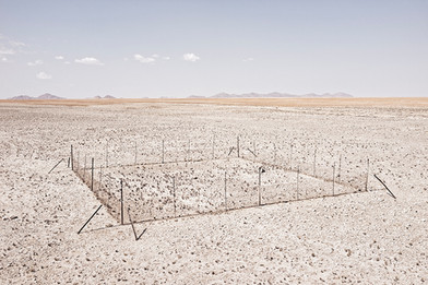 Margaret Courtney-Clarke | Experimental plot for the assessment of grass types and measurement of rainfall, Namib-Naukluft Park, 1 May 2015 | 2015 | Giclée Print on Hahnemühle Photo Rag Paper | 74.5 x 112 cm | Edition of 6 + 2 AP