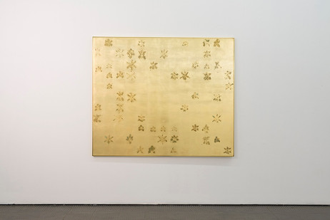 Pierre Vermeulen | 143|54 Hair Orchid Print | 2017 | Gold Leaf Imitate on Aluminium, Sweat | 150 x 179 cm