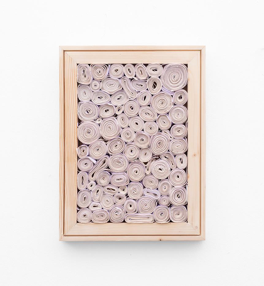 "Bonolo Kavula | ""Realeboga"" | 2021 | Acrylic, Punched, Coiled Canvas, Wood | 40.5 x 30.5 cm"