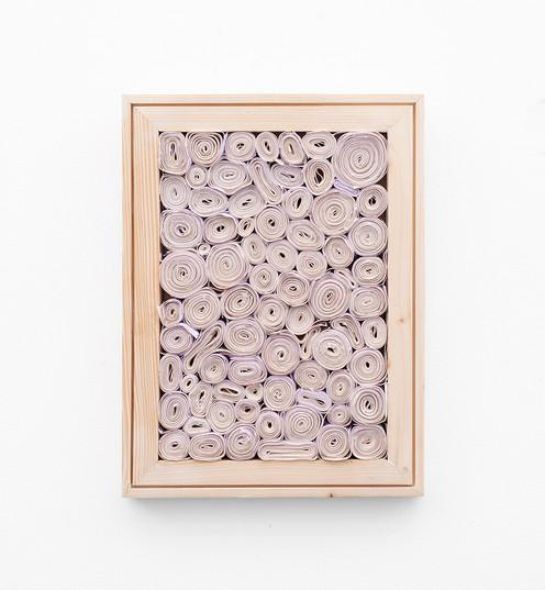 "Bonolo Kavula   ""Realeboga""   2021   Acrylic, Punched, Coiled Canvas, Wood   40.5 x 30.5 cm"