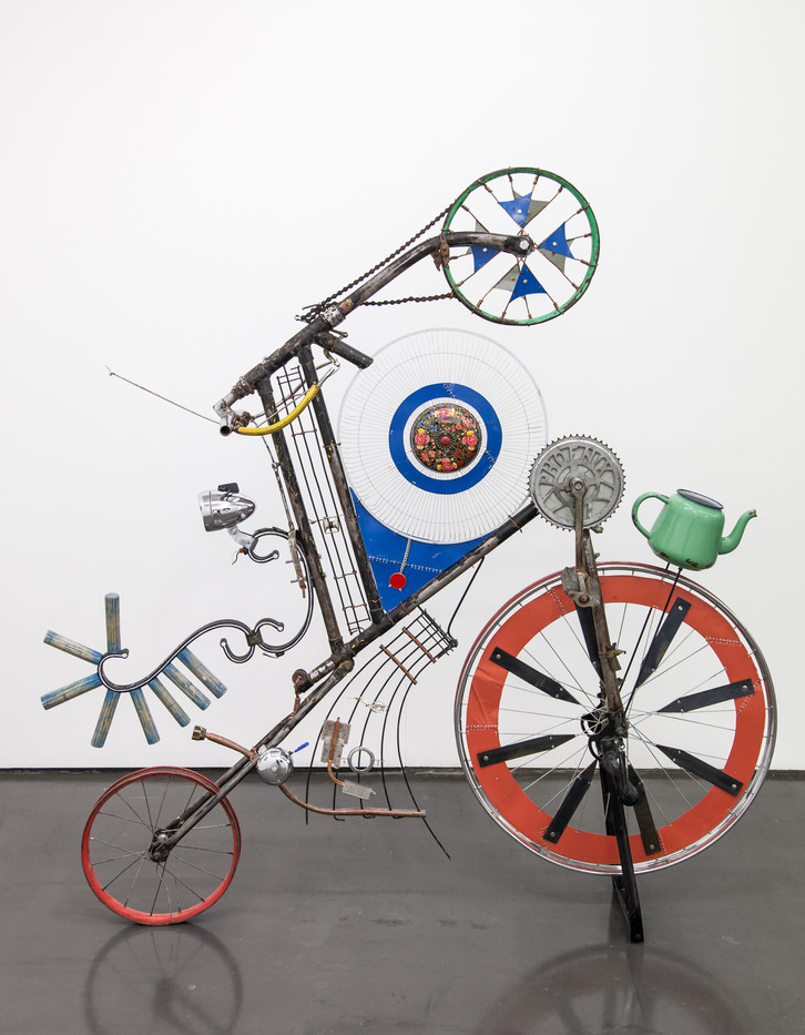Cyrus Kabiru | Blue Nile | 2017 | Steel and Found Objects | 150 x 30 x 140 cm