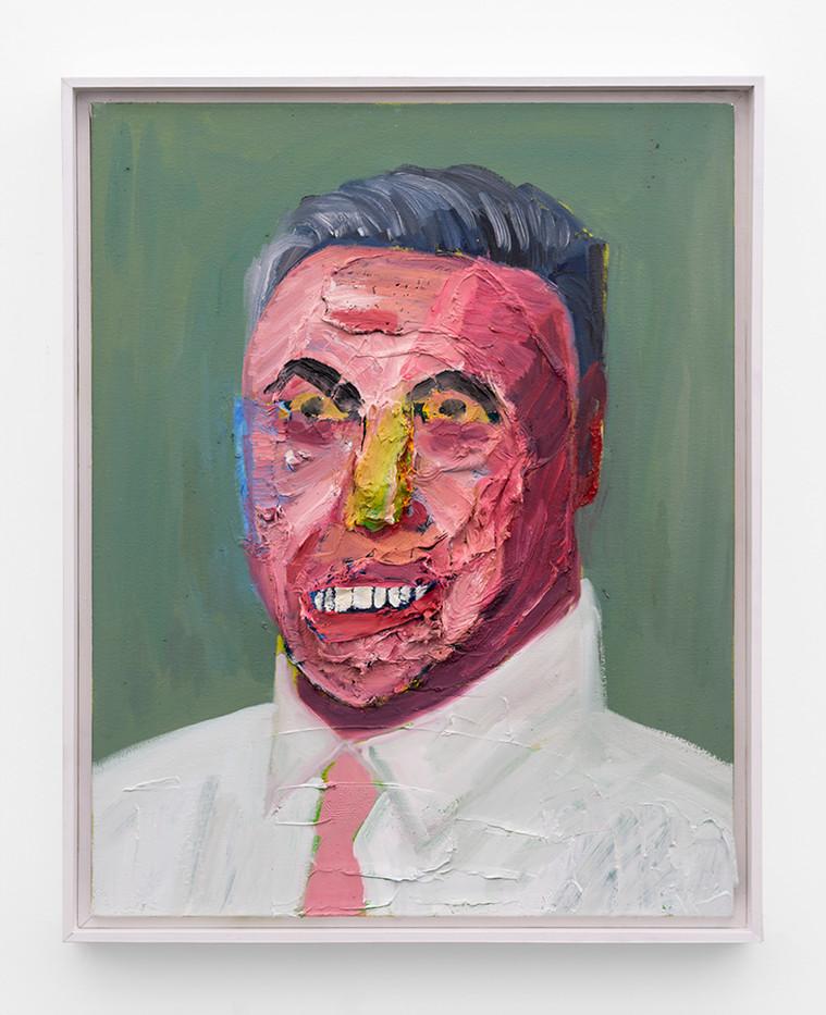 Georgina Gratrix | Business Leader in Pink Tie | 2019 | Oil on Canvas | 71 x 55 cm