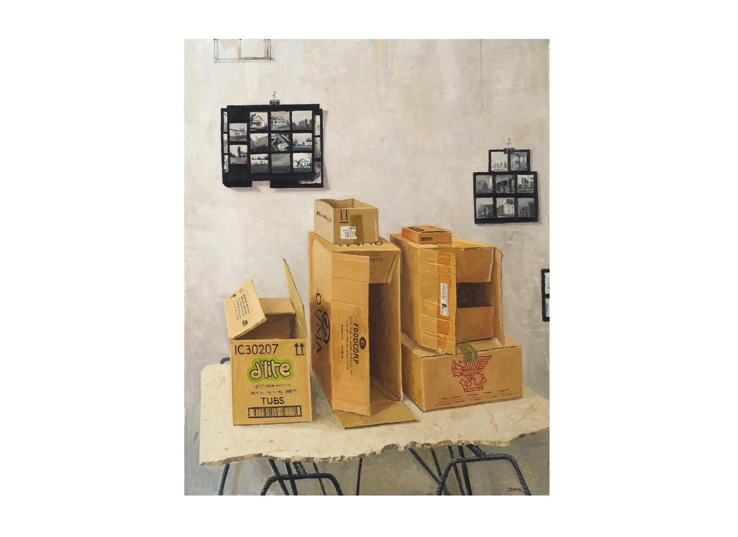 Simon Stone | Boxes with Contact Sheet | 2014 | Oil on Canvas | 116 x 93cm