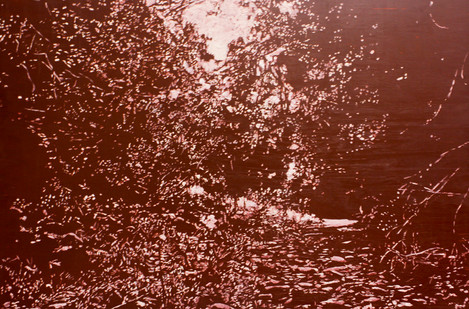 Peter Eastman | Untitled (Red) | 2014 | Oil on Aluminium | 49.5 x 74 cm