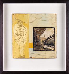 Simon Stone | Contact Street Building | 2019 | Encaustic on Cardboard | 28 x 28 cm