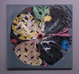 Christo Coetzee | Revolving Starflower | 1963 | Mixed Media on Hessian | 150 x 156 cm