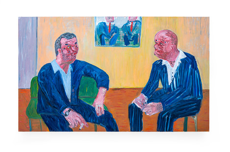 Georgina Gratrix | Art men (talking about art things) | Oil on Canvas | 151 x 250 x 6 cm
