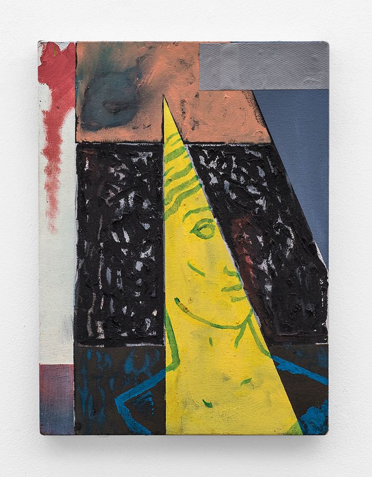 Callan Grecia | Glimpse | 2017 | Oil on Canvas, Duct Tape | 39 x 30 cm