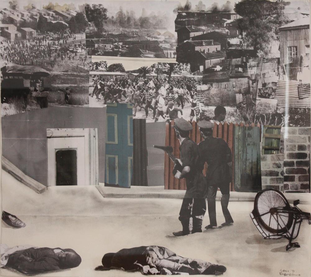 Sam Nhlengethwa | The Riot | 1991 | Mixed Media Collage | 62 x 69 cm