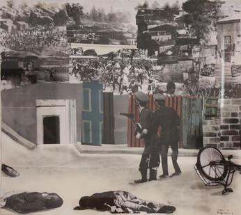 Sam Nhlengethwa   The Riot   1991   Mixed Media Collage   62 x 69 cm