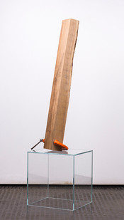 Ruann Coleman | Stay 5 | 2017 | French Oak and Clamp on Glass | 108 x 30 x 25 cm