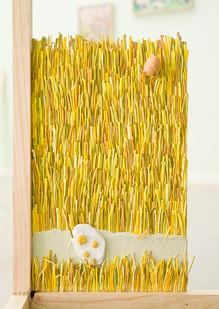 Marlene Steyn & Gabrielle Kruger   Fried Field   2018   Acrylic on Board & Oil on Ceramic   49 x 29 cm