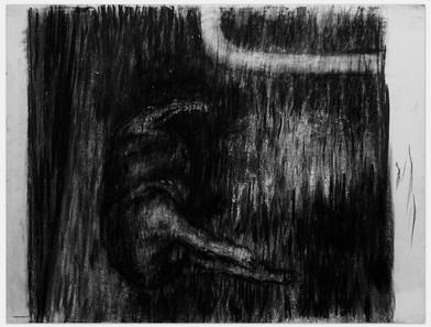 Johann Louw |  Dooie Hond | 2014 | Charcoal on Paper | 125 x 162 cm