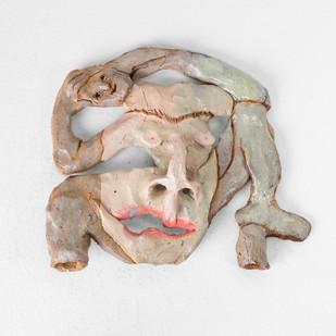 Marlene Steyn   Her In Her Voices (Side Tracker)   2017   Oil Paint on Ceramic, Brass, Marble   17 x 20 cm