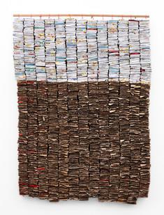 Wallen Mapondera | Kuseri Kwekuseri | 2019 | Cardboard, Waxed Thread and Wood | 122 x 89 x 7 cm