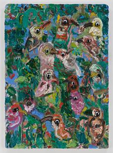 Georgina Gratrix | Assemblage (birds) | 2015 | Oil on Board | 70.5 x 50.5 cm