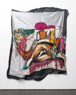 Kresiah Mukwazhi | Disposable Dreams | 2017 | Painting and Mixed Media on Petticoat linen | 220 x 170 cm
