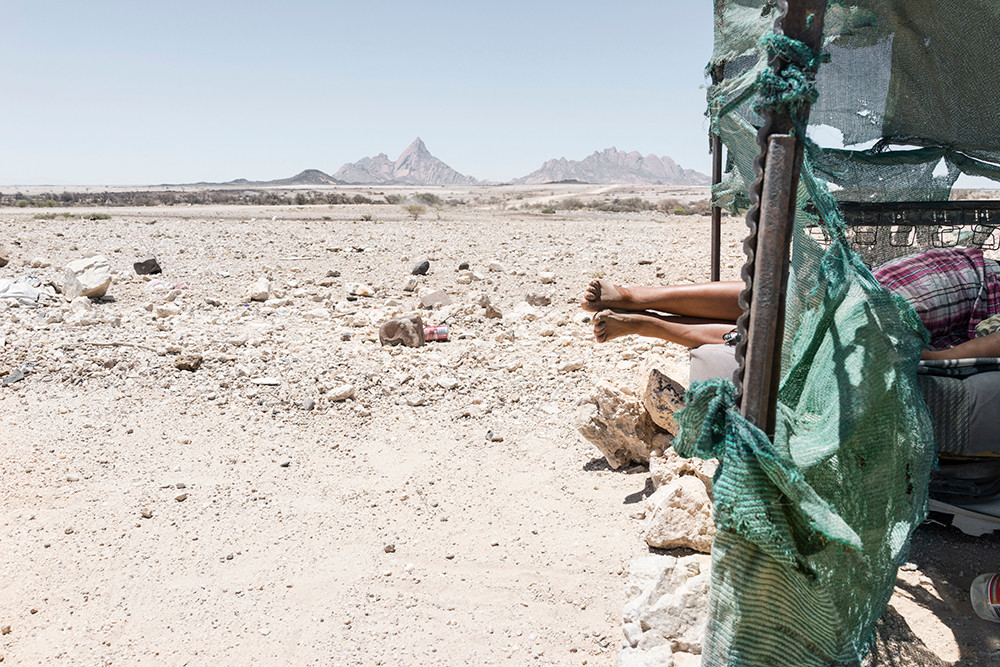Margaret Courtney-Clarke | Dorothea and her daughter Elneray take a nap, Black Ranch, Pos #2, Spitzkoppe, 25 January | 2016 | 2016 | Giclée Print on Hahnemühle Photo Rag Paper | 74.5 x 112 cm | Edition of 6 + 2 AP