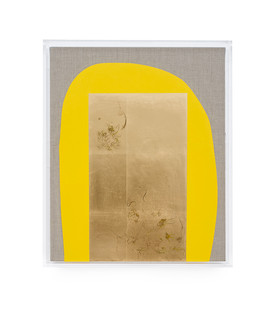 Pierre Vermeulen | Hair orchid sweat print, yellow with grey | 2019 | Sweat, Gold Leaf Imitate, Shellac and Acyrilc on Belgian Linen | 52.5 x 43 cm