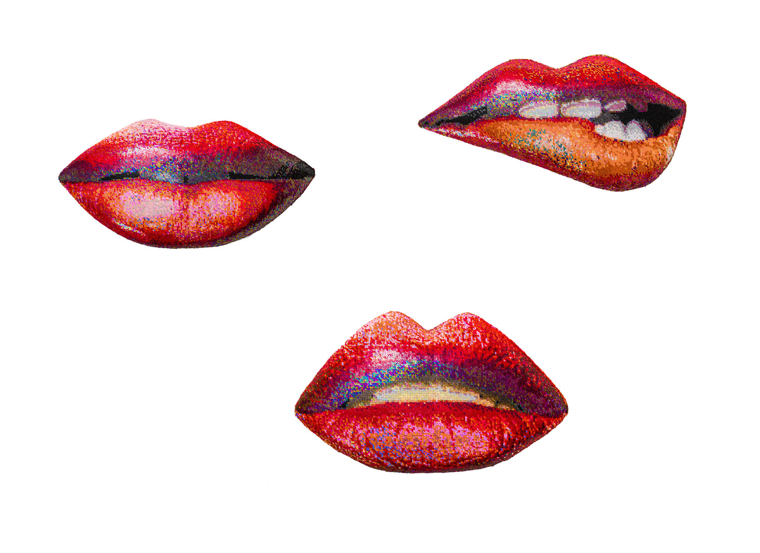 Frances Goodman | Sequin Lips Series | 2020 | Hand-Stitched Sequins on Canvas, Board, Foam | Dimensions Variable | Edition of 3 Each