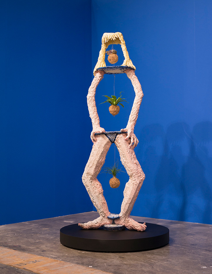 Marlene Steyn | I used to be a potplant | 2016 | Sculpture, Painted Bronze and Found Objects | 230 x 76 x 44 cm | Edition of 3 + 1 AP