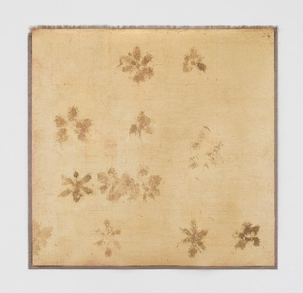 Pierre Vermeulen | Untitled | 2017 | God Leaf Imitate, Sweat & Pink Oil on Canvas | 58 x 59 cm
