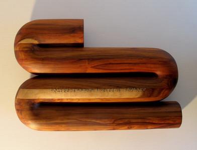 Willem Boshoff   Boustrophedon   2008   Kiaat Wood (Pterocarpus angolensis) and Braille Text in Escutcheon Pins   54 x 37 x 11 cm