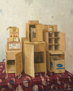 Simon Stone   Boxes with Carpet   2014   Oil on Canvas   116.5 x 93 cm