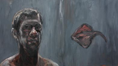 Johann Louw | Self-Portret met Rog | 2012 | Oil on Plywood | 69 x 122 cm