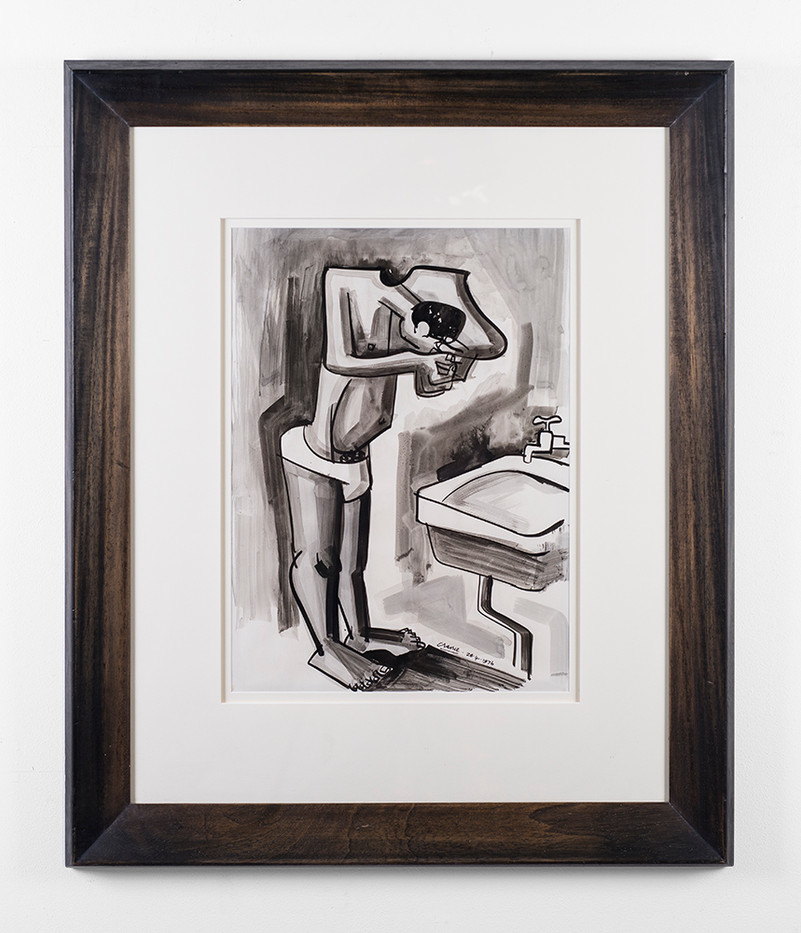 Peter Clarke | Cleaning Up | 1976 | Ink on Paper | 48 x 35 cm