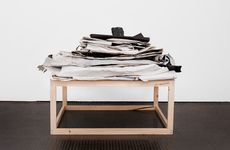 Alexandra Karakashian | Laid to rest II | 2020 | Folded Paintings, Oil, Paper and Rock | 85 x 150 x 135 cm