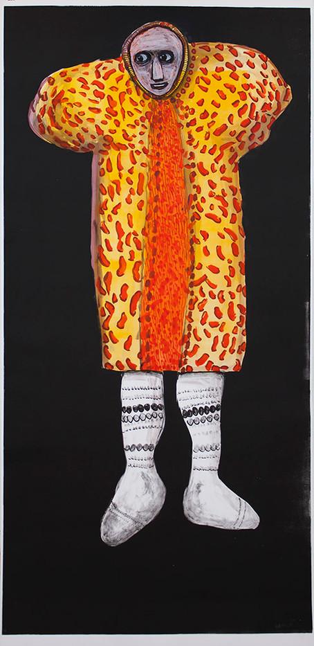 Colbert Mashile   The Groom II   2014   Mixed Media on Paper   185 x 90.5 cm